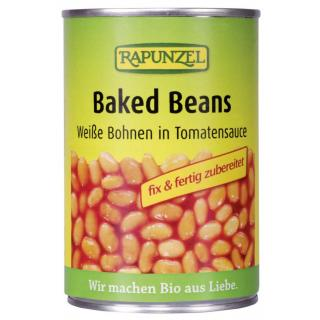 Baked Beans in der Dose, weiße Bohnen in Tomatensa